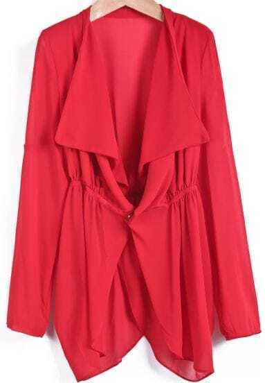 Red Lapel Long Sleeve Loose Chiffon Tailcoat
