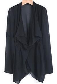 Black Lapel Long Sleeve Loose Chiffon Tailcoat