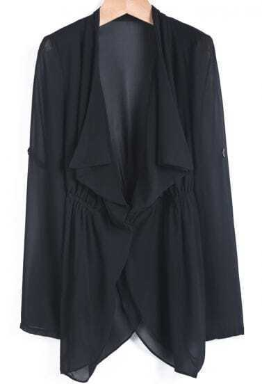 Black Lapel Long Sleeve Loose Chiffon Tailcoat