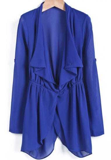 Blue Lapel Long Sleeve Loose Chiffon Tailcoat