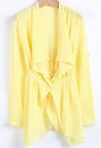 Yellow Lapel Long Sleeve Loose Chiffon Tailcoat