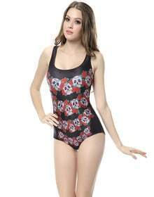 Black Sleeveless Floral Skull Print Swimsuit