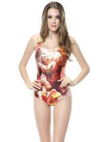 Red Sleeveless Character Print Swimsuit