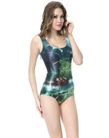 Green Sleeveless Natural Scenery Print Swimsuit