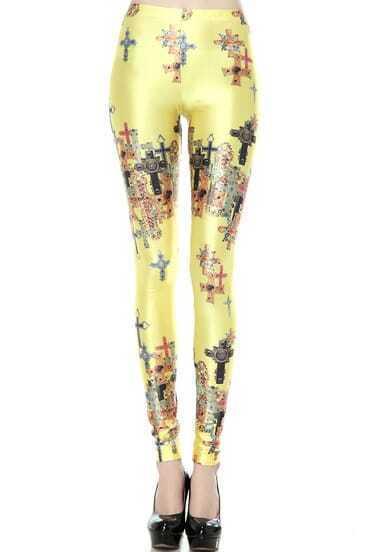 Yellow Skinny Cross Print Leggings