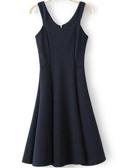 Navy Spaghetti Strap Backless Pleated Dress