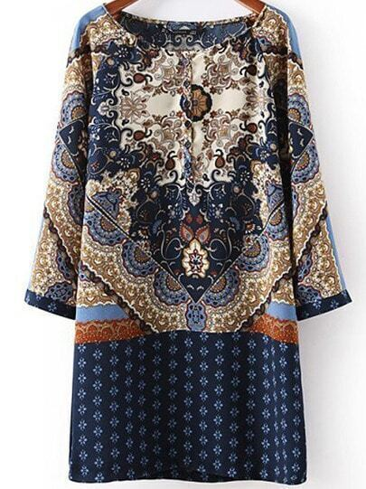 Blue Long Sleeve Vintage Floral Loose Dress
