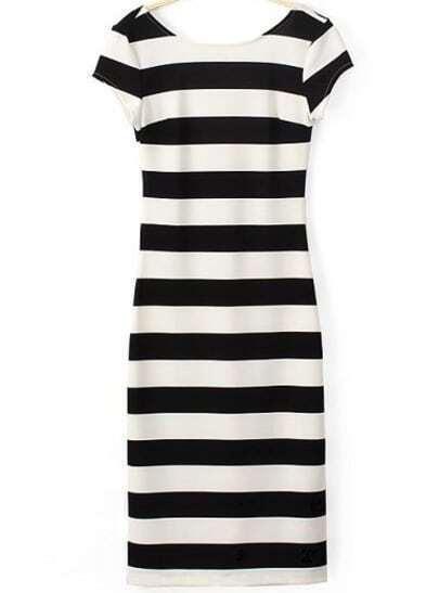 Black White Striped Backless Short Sleeve Dress