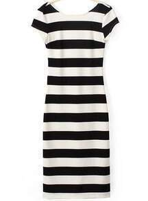 Black White Striped Backless Short Sleeve Dress