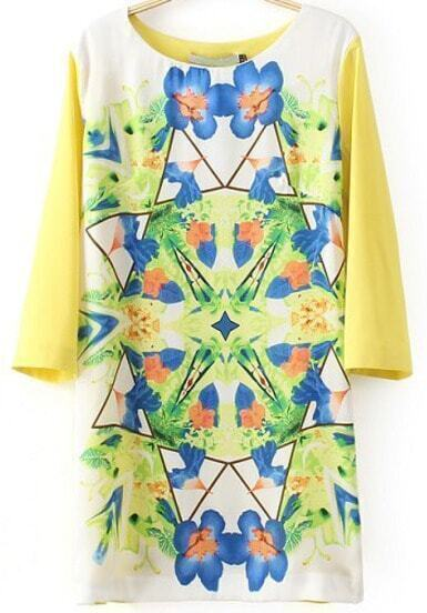 Yellow Round Neck Floral Loose Dress