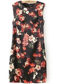 Black Sleeveless Vintage Floral Bodycon Dress