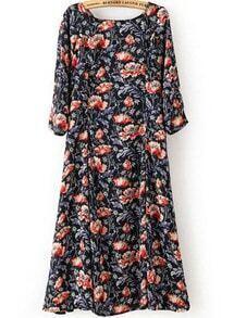 Black Half Sleeve Floral Pockets Dress