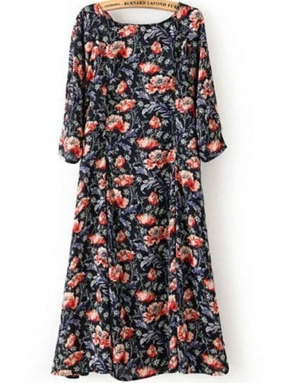 Black Half Sleeve Floral Pockets Dress