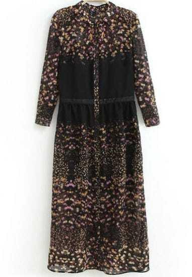 Black Long Sleeve Floral Chiffon Two Pieces Dress