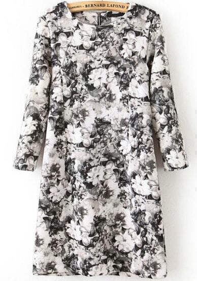 Black White Long Sleeve Floral Slim Dress