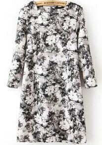 Black White Long Sleeve Floral Slim Dress