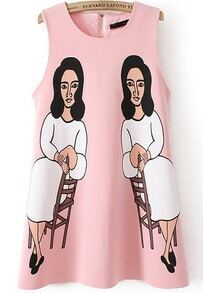 Pink Sleeveless Character Print Loose Dress