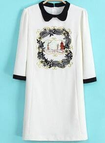 White Contrast Collar Embroidered Chiffon Dress