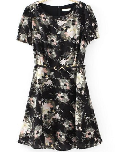 Black Short Sleeve Floral Slim Dress