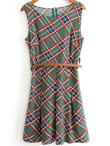 Green Round Neck Sleeveless Plaid Vintage Sundress