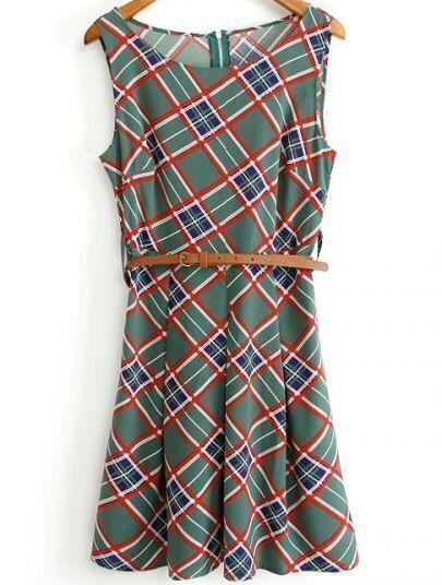 Green Round Neck Sleeveless Plaid Vintage Sundress