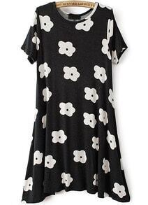 Black Short Sleeve Floral Slim Dress