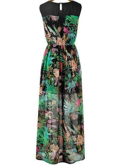 Black Green Sleeveless Floral Pleated Long Dress