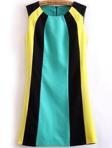 Black Green Yellow Sleeveless Straight Dress