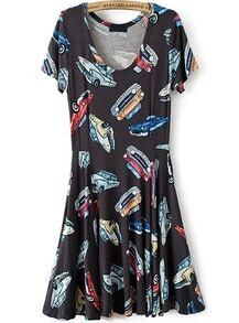 Navy Short Sleeve Cars Print Pleated Dress