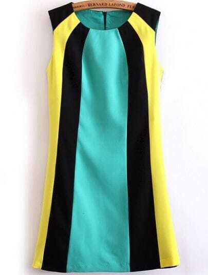 Black Green Yellow Sleeveless Straight Dress