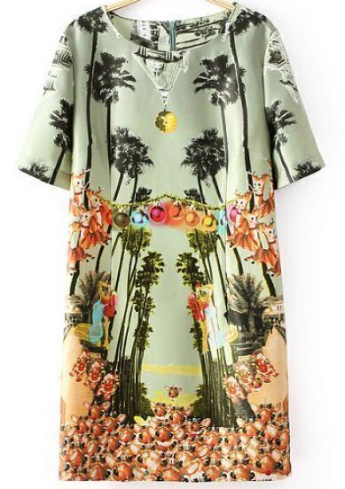 Green Short Sleeve Gemstone Tree Print Dress