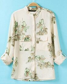 Apricot Stand Collar Floral Pockets Blouse