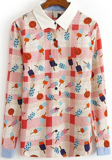 Pink Long Sleeve Lollipops Print Blouse