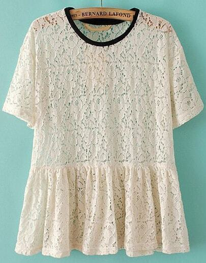 Beige Short Sleeve Hollow Pleated Lace Blouse