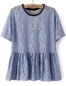 Blue Short Sleeve Hollow Pleated Lace Blouse