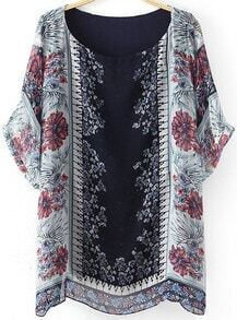 Navy Short Sleeve Tribal Print Chiffon Blouse