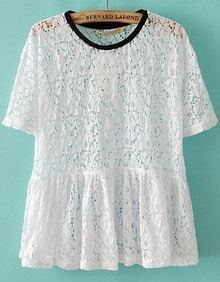 White Short Sleeve Hollow Pleated Lace Blouse