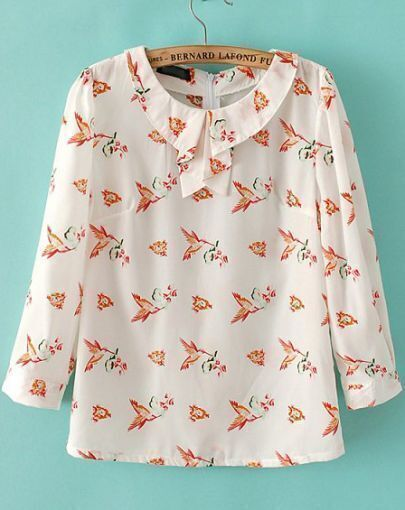 White Lapel Birds Print Chiffon Blouse