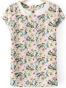 White Short Sleeve Vintage Floral Blouse