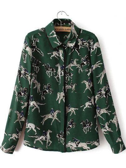 Green Lapel Long Sleeve Knight Print Blouse
