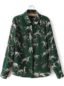 Green Lapel Long Sleeve Knight Print Blouse
