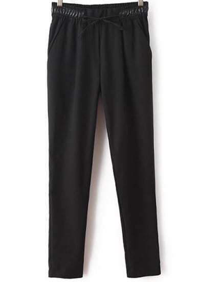 Black Contrast PU Leather Drawstring Pant