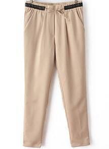 Khaki Contrast PU Leather Drawstring Pant