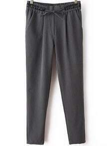 Grey Contrast PU Leather Drawstring Pant