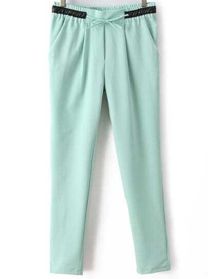 Green Contrast PU Leather Drawstring Pant
