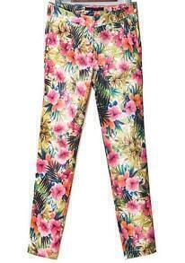 Red Yellow Floral Slim Pencil Pant