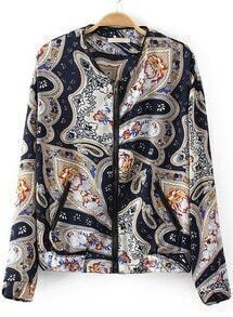 Navy Long Sleeve Cashews Print Jacket