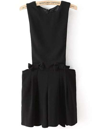 Black Contrast Short Sleeve Bpw Pleated Jumpsuits