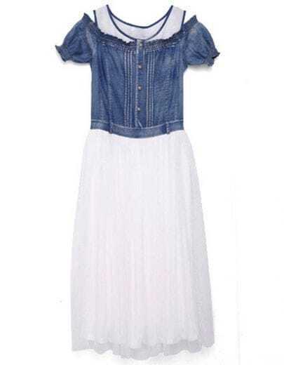 Blue Contrast White Mesh Yoke Denim Dress