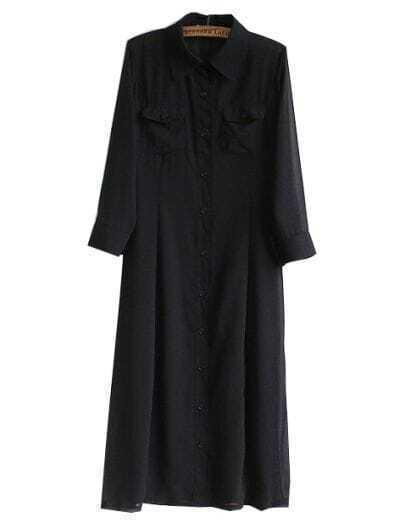 Black Long Sleeve Lapel Chiffon Dress